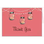 Glowing Mason Jars on a String of Lights Greeting Card