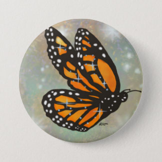 Glowing Monarch Butterfly Button