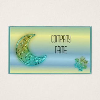 Glowing moon and stars business card