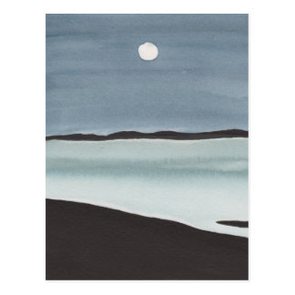 Glowing Moon Over Ocean Postcard