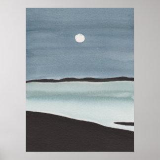 Glowing Moon Over Ocean Poster