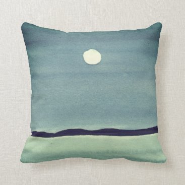 Beach Themed Glowing Moon Over Ocean Throw Pillow