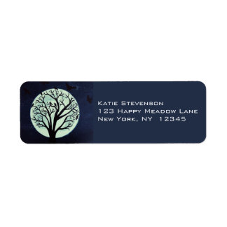 Glowing Moonlight with Old Tree and Crows Label