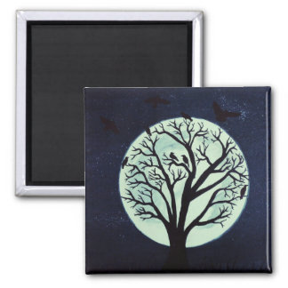 Glowing Moonlight with Old Tree and Crows 2 Inch Square Magnet