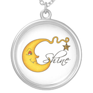 Glowing MoonShine With Star Silver Plated Necklace