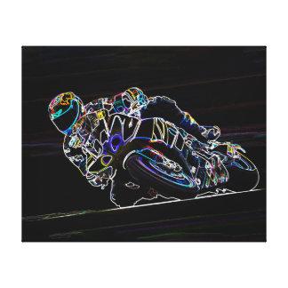 Glowing Motorcycle Rider Circle Racing Sketch Canvas Print