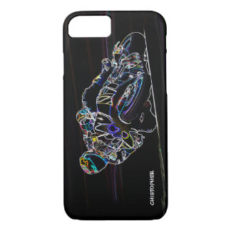 Glowing Motorcycle Rider Circle Racing Sketch iPhone 7 Case