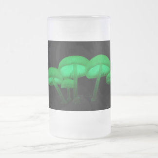 Glowing Mushrooms Frosted Glass Beer Mug
