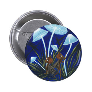 Glowing Mushrooms Moth Fairy Pin! 2 Inch Round Button