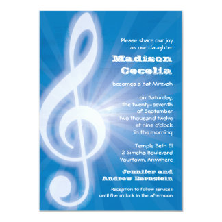 Glowing Music Clef Bar-Bat Mitzvah Card