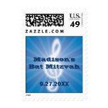 Glowing Music Clef Bar-Bat Mitzvah Postage Stamp
