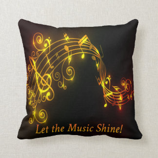 Glowing Musical Notes Pillow