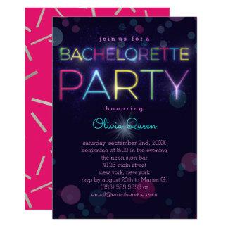 Glowing Neon Bachelorette Party Invitation