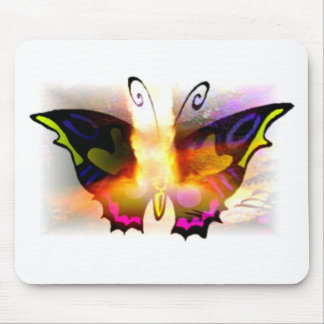 Glowing Neon Fire Butterfly Mouse Pad