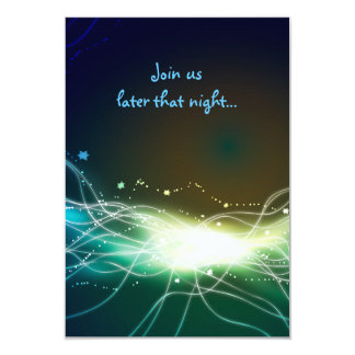 Glowing Neon Star Bar Mitzvah Party Reception Card Invitations
