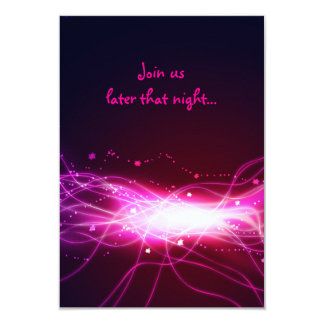 Glowing Neon Star Bat Mitzvah Reception Party Card