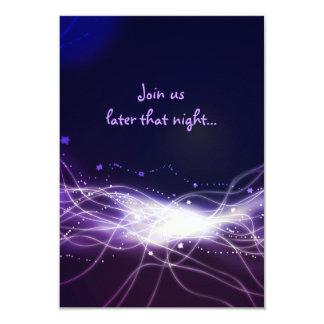Glowing Neon Star Bat Mitzvah Reception Party Card