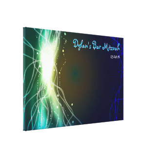 Glowing Neon Stars Bar Bat Mitzvah Sign-In Board Canvas Print