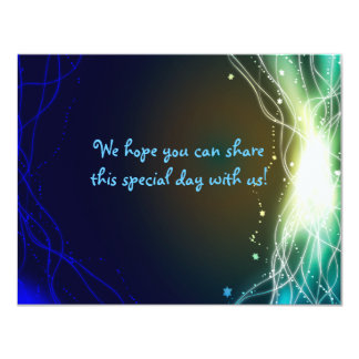 Glowing Neon Stars Bar Mitzvah  REPLY Card Personalized Invites