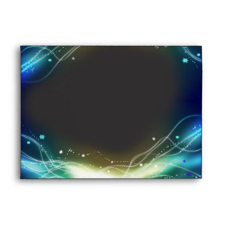Glowing Neon Stars Bat Mitzvah Envelope blue