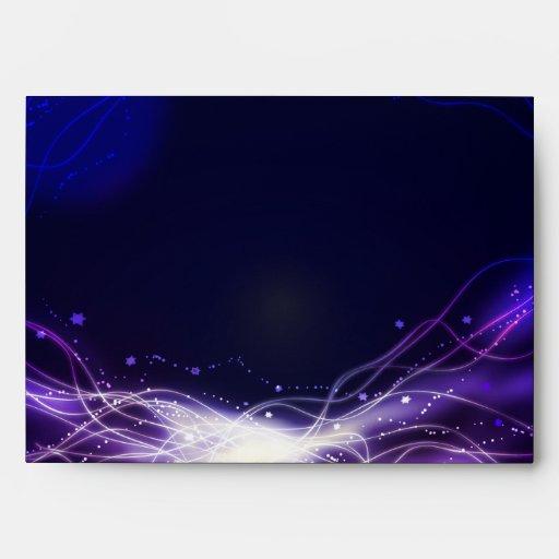 Glowing Neon Stars Bat Mitzvah Envelope Purple