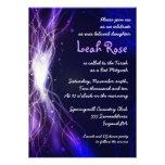 Glowing Neon Stars Bat Mitzvah Invitation purple