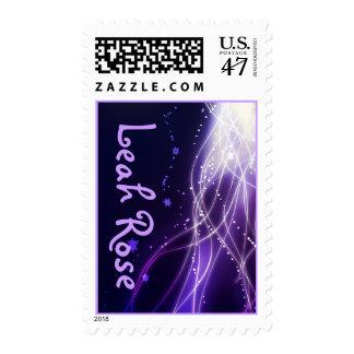 Glowing Neon Stars Bat Mitzvah Postage stamp
