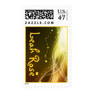 Glowing Neon Stars Bat Mitzvah Postage stamp gold