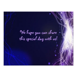 Glowing Neon Stars Bat Mitzvah REPLY Card