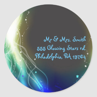 Glowing Neon Stars Bat Mitzvah Retern Sticker Seal