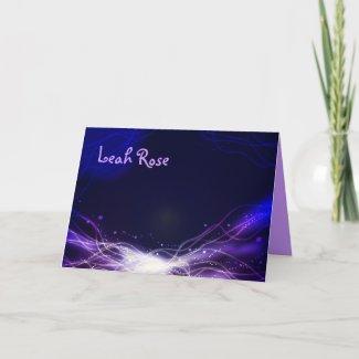 Glowing Neon Stars Thank You card purple card
