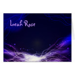 Glowing Neon Stars Thank You card purple Greeting Card