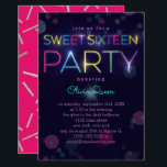 """Glowing Neon Sweet Sixteen Party Invitation<br><div class=""""desc"""">Sweet Sixteen party invitation in dark purple with glowing neon letters and bokeh. Perfect for a glow in the dark themed occasion.</div>"""