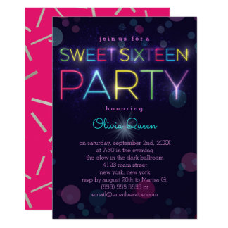 Glowing Neon Sweet Sixteen Party Invitation