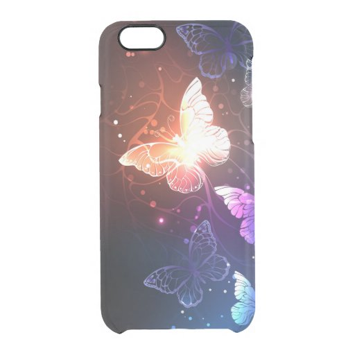 Glowing Night Butterflies Clear iPhone 6/6S Case
