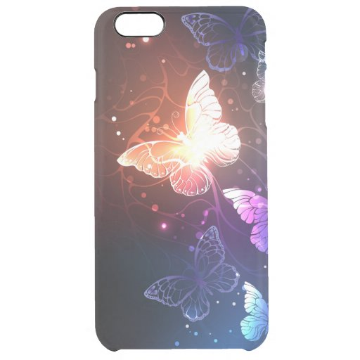 Glowing Night Butterflies Clear iPhone 6 Plus Case