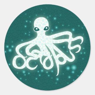 Glowing Octopuss Classic Round Sticker