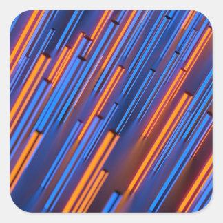 Glowing Orange And Blue Bars Square Sticker
