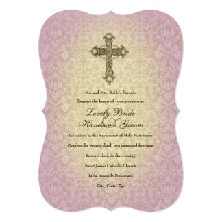 Glowing Orchid Catholic Cross Wedding Invitation