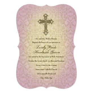 glowing orchid catholic cross wedding invitation - Catholic Wedding Invitations