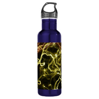 Glowing Pattern of Green and Orange Stainless Steel Water Bottle
