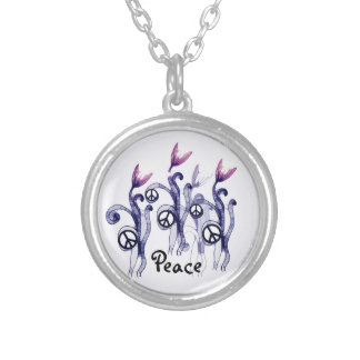 'Glowing Peace Flowers' Navy Silver Plated Necklace