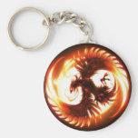glowing phoenix basic round button keychain