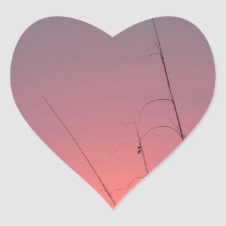 Glowing Pink and Purple Sunset Heart Sticker