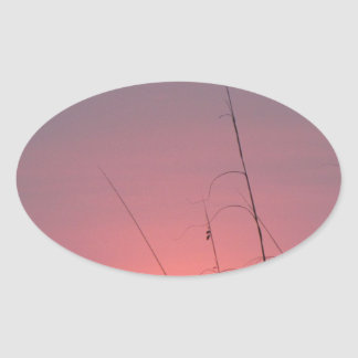 Glowing Pink and Purple Sunset Oval Sticker