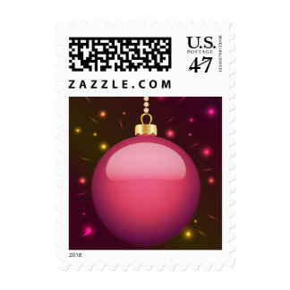 Glowing pink Christmas bauble / Postage Stamps