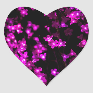 Glowing Pink Flower Lights Heart Sticker