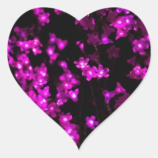 Glowing Pink Flower Lights Heart Sticker