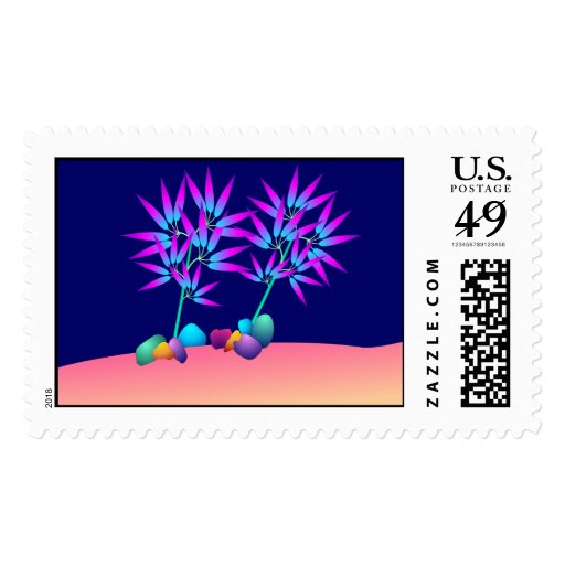 Glowing plants postage stamp