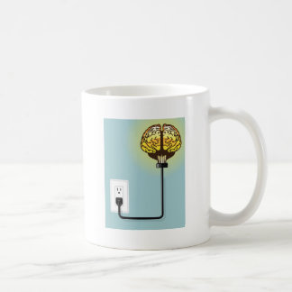 Glowing plugged in brain coffee mug